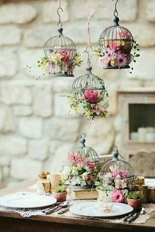 decoración boda jaulas canarios