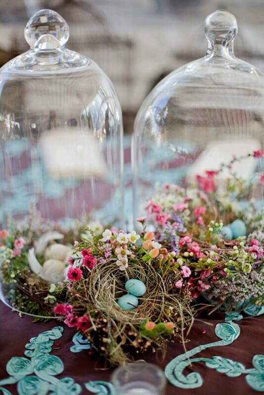 decoración mesa nido pájaro