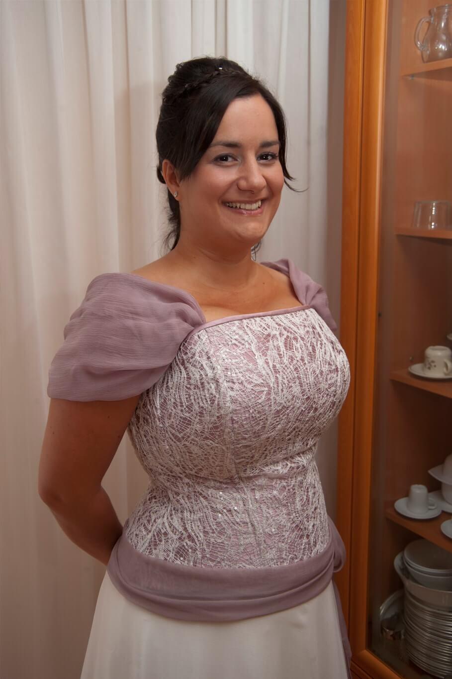 vestido de novia con color