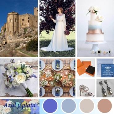 Una romántica boda en azules y plata
