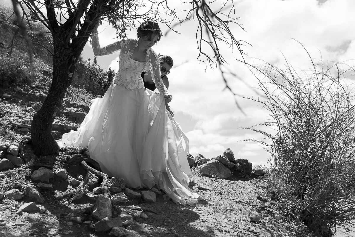 trajes de novia con color