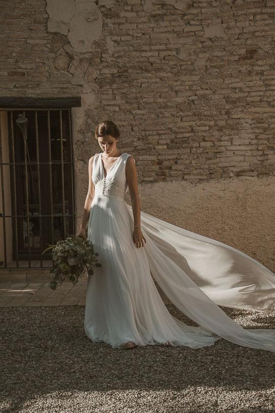 vestido de novia escote en pico